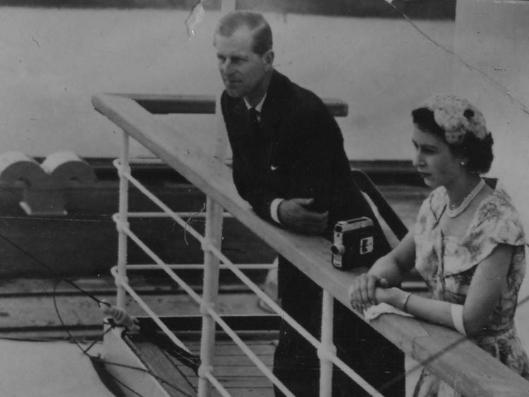 December 1953: The Queen and Prince Philip peered over the railings of the SS Gothic in the Panama Canal during their Commonwealth tour