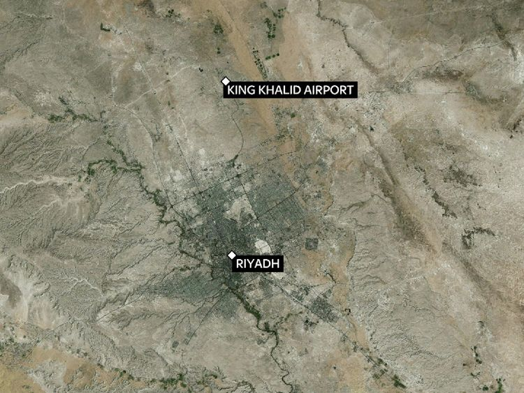 A map showing the location of the airport relative to the centre of Riyadh