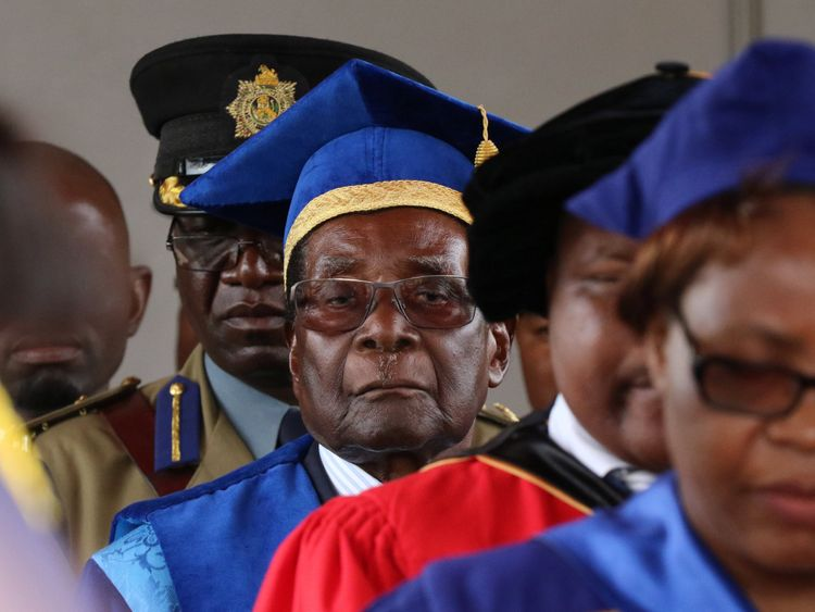 Robert Mugabe attends a university graduation ceremony in Harare