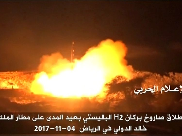 Saudi Arabia intercepts Yemen rebel missile targeting royal palace