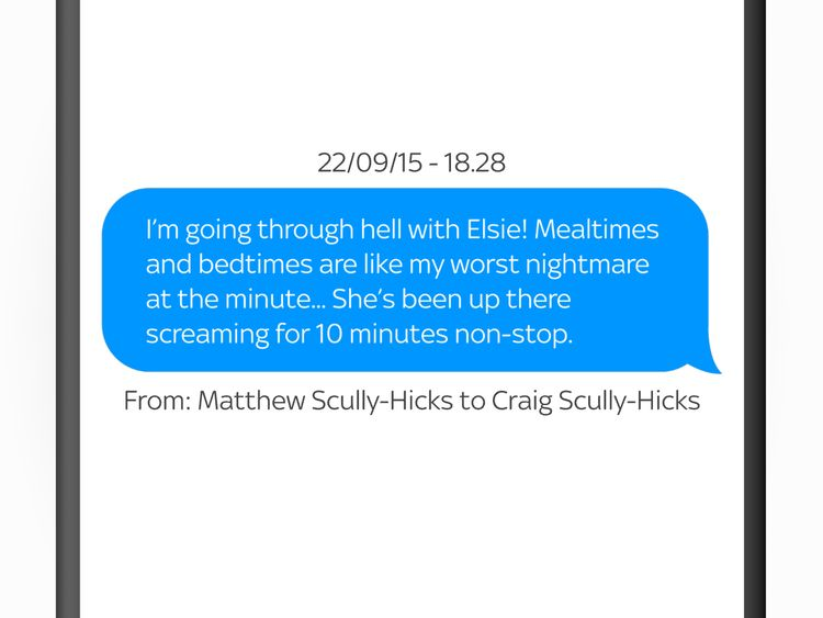 Matthew Scully-Hicks complained about mealtimes and bedtimes