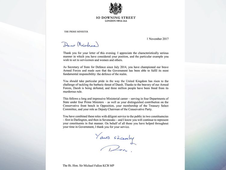 Theresa May's response to Sir Michael Fallon's resignation letter
