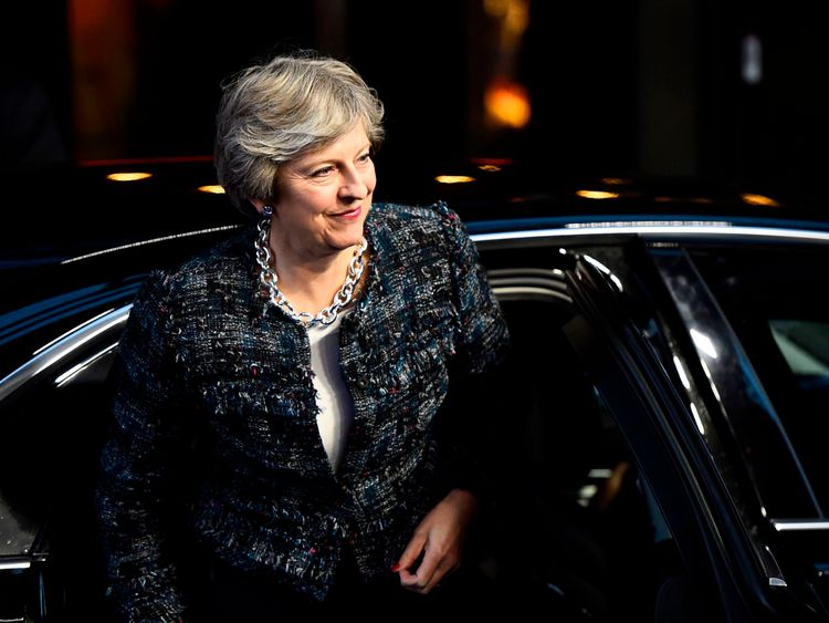 Theresa May arrives to attend the European Social Summit in Gothenburg, Sweden