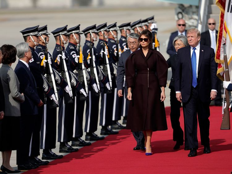 Donald Trump arrives in South Korea with wife Melania