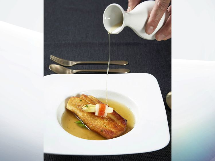 Grilled sole in a consomme