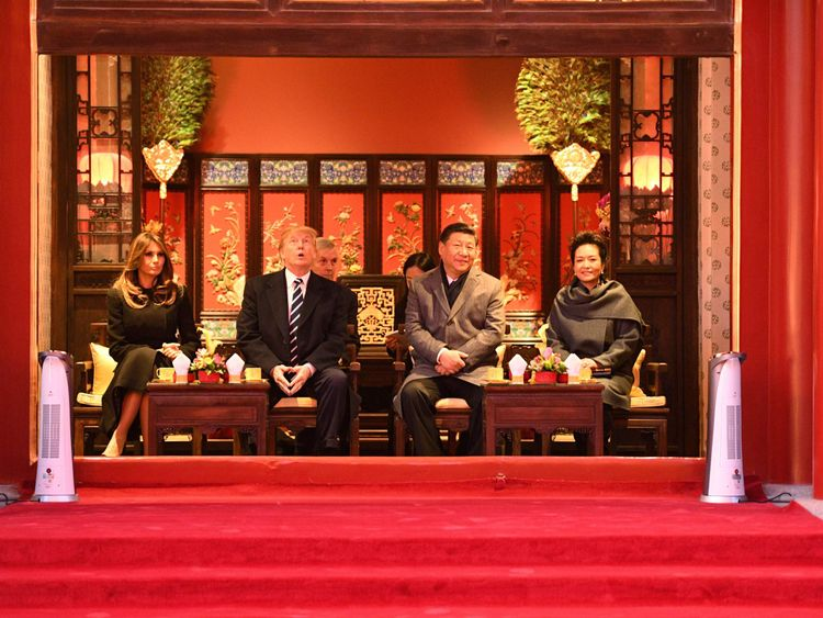 Melania Trump, Donald Trump, Xi Jinping and his wife Peng Liyuan in the Forbidden City in Beijing