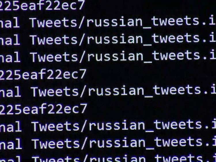 Code showing the links to tweets with Russian links