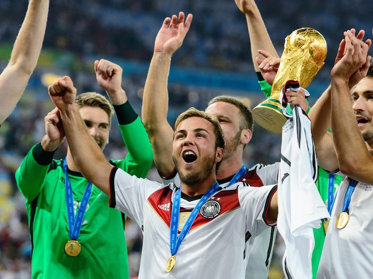 Germany celebrate with the 2014 World Cup in Brazil. England could either team in Russia