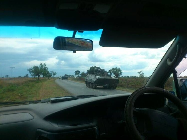 Part of what has been described as a convoy of vehicles near Harare