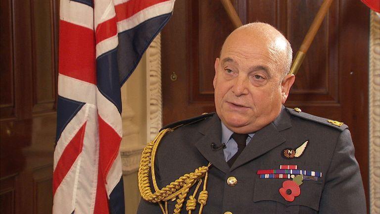 Air Chief Marshal Sir Stuart Peach speaking to Sky's Alistair Bunkall