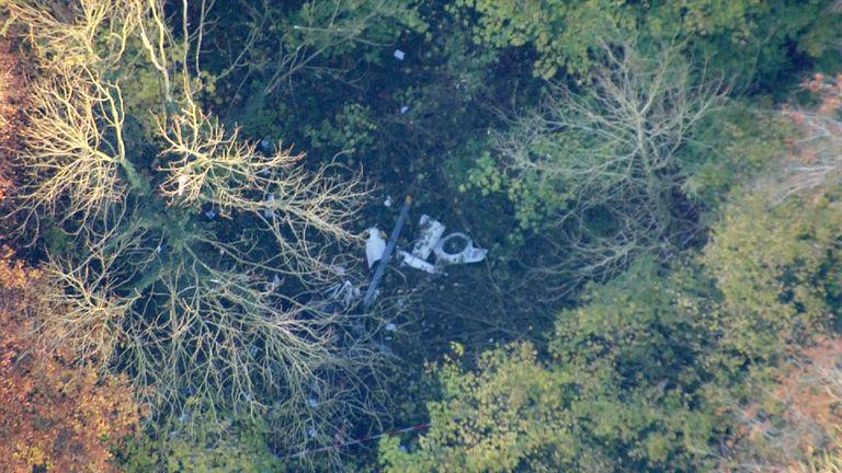 Aircraft collision in Upper Winchendon, 17 November 2017 - Sky chopper shot