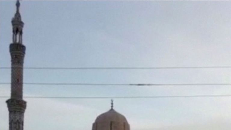 The exterior of Al Rawdah mosque is seen in Bir Al-Abed, Egypt