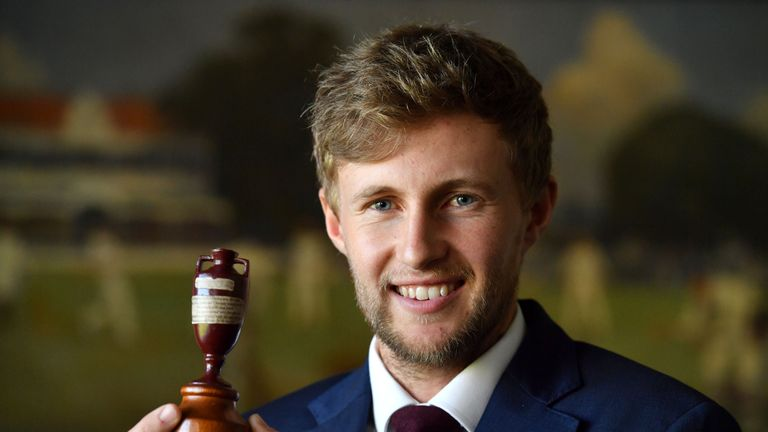 England captain Joe Root with the famous Ashes urn