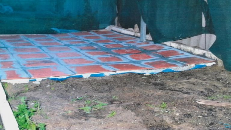 The victim's body was found under some tiles in the backyard