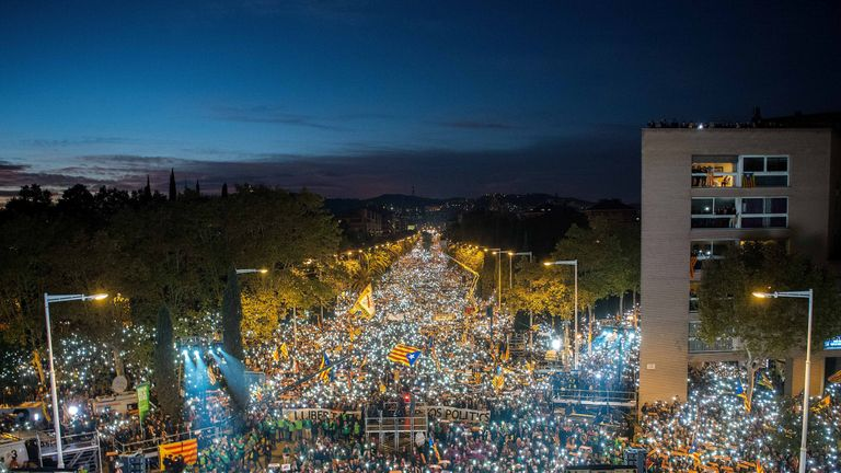 Pro-independence supporters in Barcelona