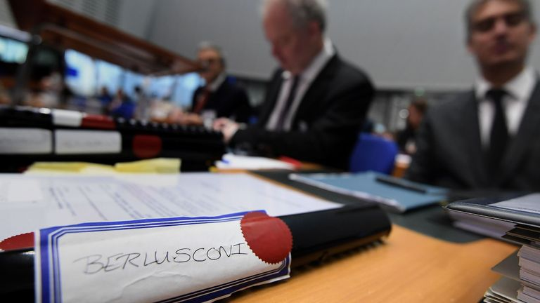 Lawyers for Silvio Berlusconi prepare their case in the European Court of Human Rights in Strasbourg