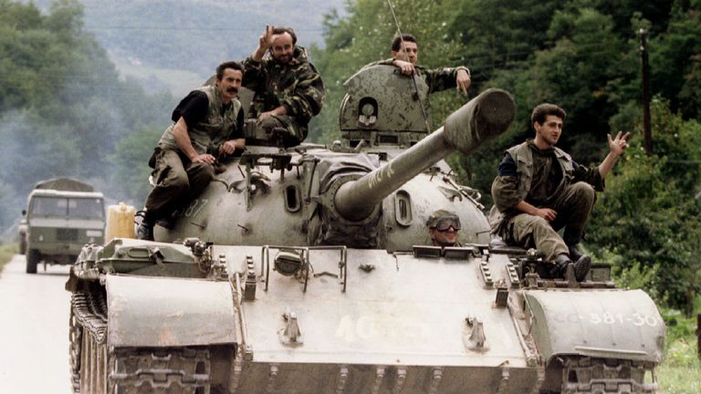 Bosnian Serb soldiers in Sarajevo in 1995