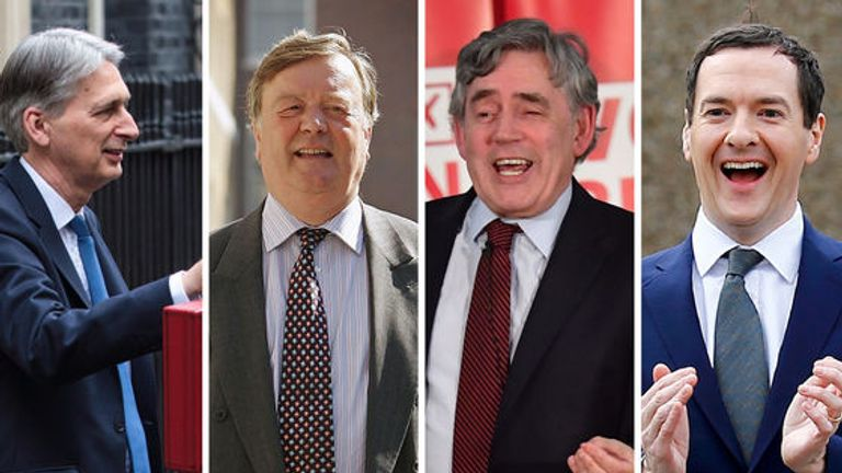 Former chancellors Philip Hammond, Ken Clarke, Gordon Brown and George Osborne