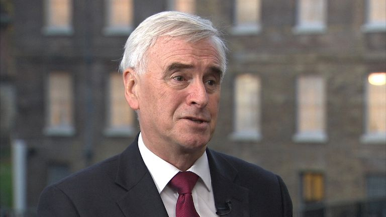Shadow Chancellor John McDonnell MP talking outside Westminster.