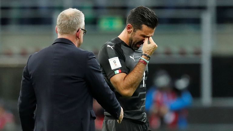 Buffon cries as tries to go off the pitch after losing world cup place