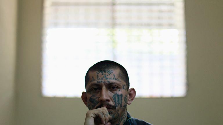 MS-13 leader Carlos Tiberio in San Vincente Prison in El Salvador in 2013