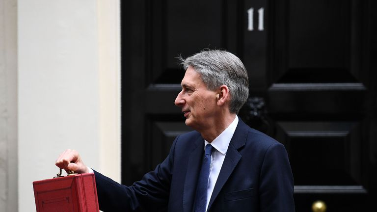 British Chancellor of the Exchequer Philip Hammond poses for pictures with the Budget Box