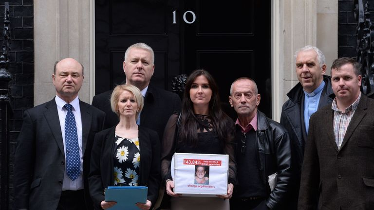 Supporters of the Chennai Six outside of Number 10 Downing Street. Pic: Stefan Rousseau/PA Wire