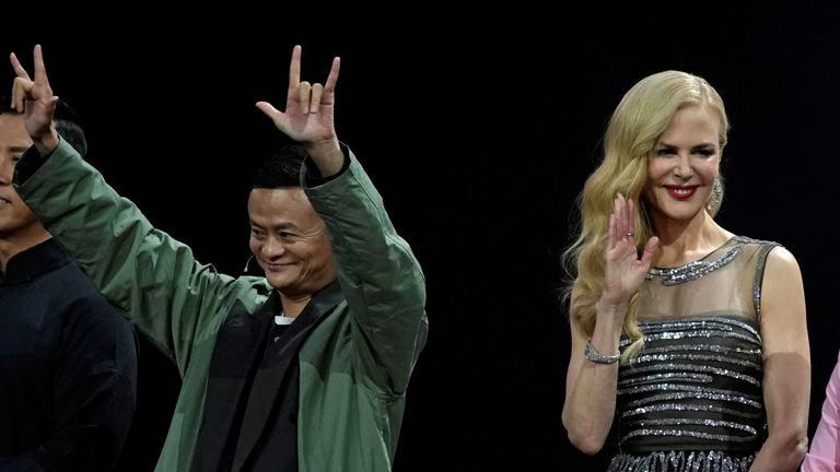 Jack Ma, Chairman of Alibaba Group, and Nicole Kidman at the countdown to opening in Shanghai