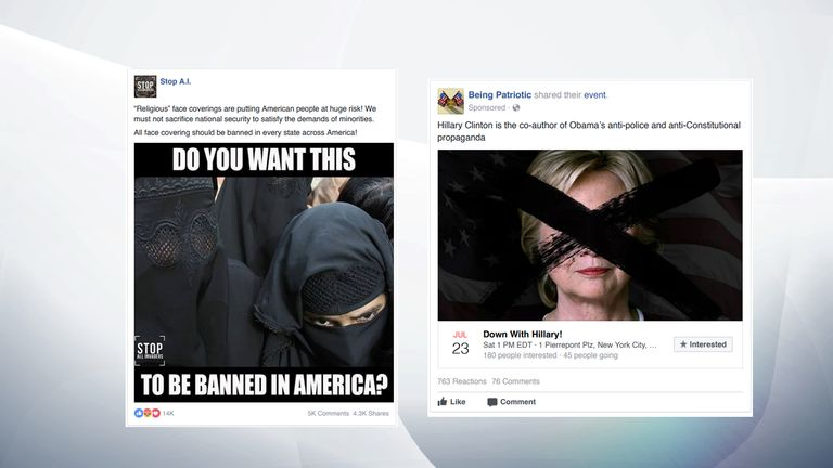 Divisive material posted on Facebook by Russian operatives. Pic: US Congress