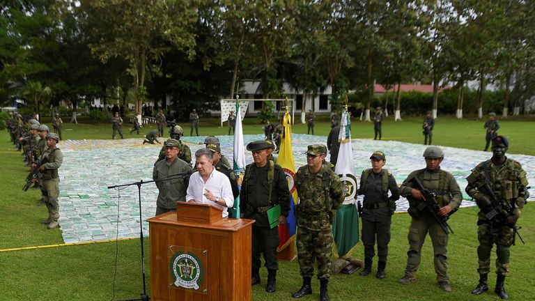 The Colombian president speaks after the drugs were seized
