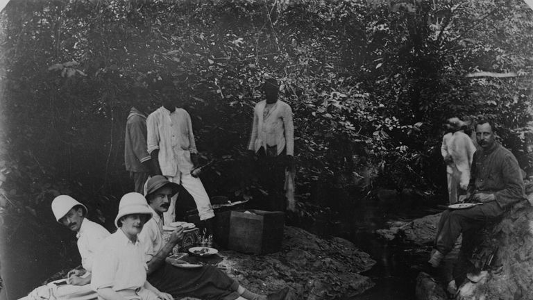 British colonials having a picnic in Nigeria