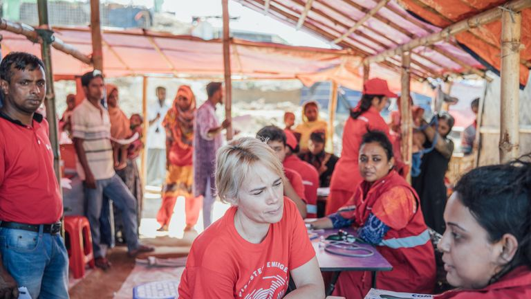 Nicola Peckett from the Disasters Emergency Committee during a visit to a refugee camp in Bangladesh. Pic: DEC