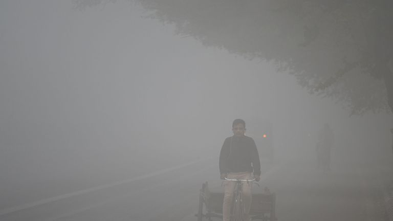 An Indian labourer drives a rickshaw amid heavy smog in New Delhi