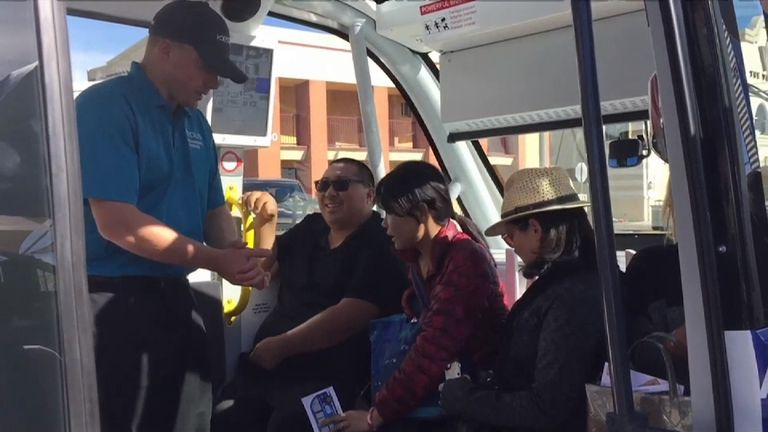 Passengers on the driverless bus before the accident