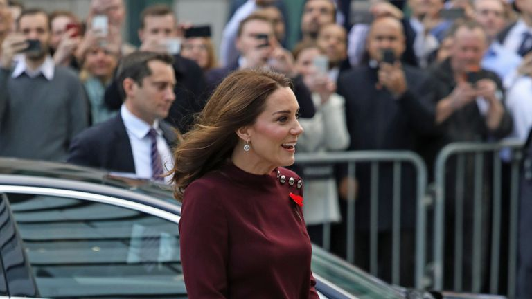 The Duchess of Cambridge arrives to open the Place2Be's school leaders forum at UBS, in London.