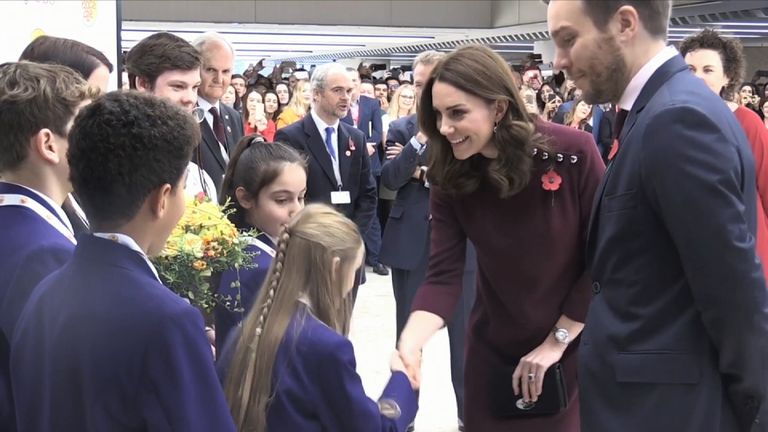 The Duchess of Cambridge meets children ahead of an event in London