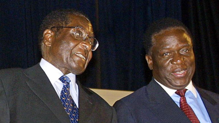 Mr Mnangagwa has been a lieutenant of Mr Mugabe for many years. This file picture is from 2003