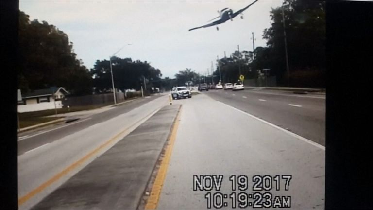 The plane came down on a road