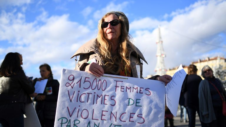 A woman takes part in a demonstration against violence against women, on November 25, 2017 in Marseille, southern France. November 25 is the International Day for the Elimination of Violence Against Women. / AFP PHOTO / ANNE-CHRISTINE POUJOULAT (Photo credit should read ANNE-CHRISTINE POUJOULAT/AFP/Getty Images)