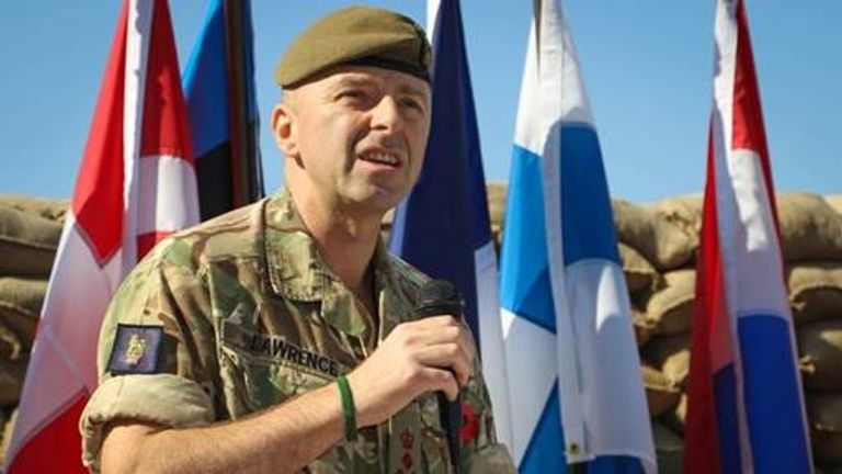 British Brigadier Frazer Lawrence speaks at Remembrance Sunday in Baghdad. Pic: Sgt Von Marie Donato, US Army