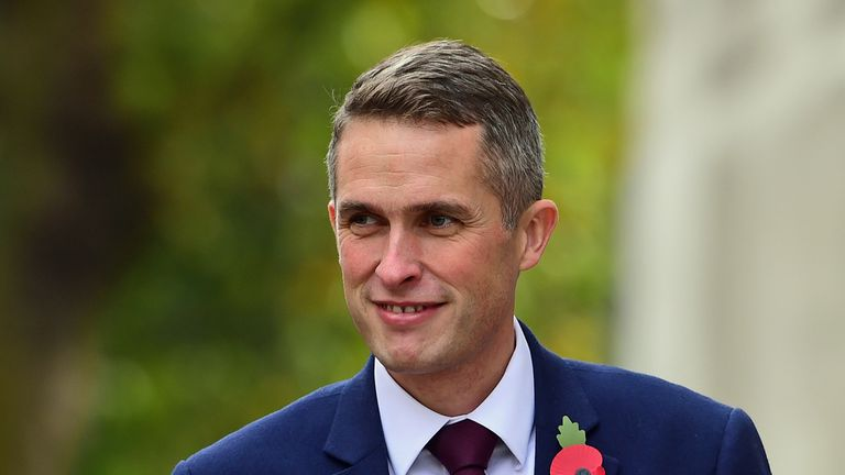 Gavin Williamson outside the Ministry of Defence
