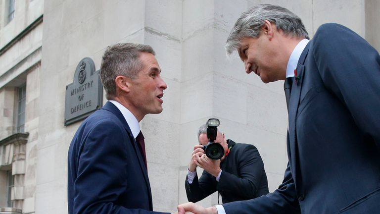 Stephen Lovegrove, right, welcoming Sir Michael Fallon's replacement Gavin Williamson