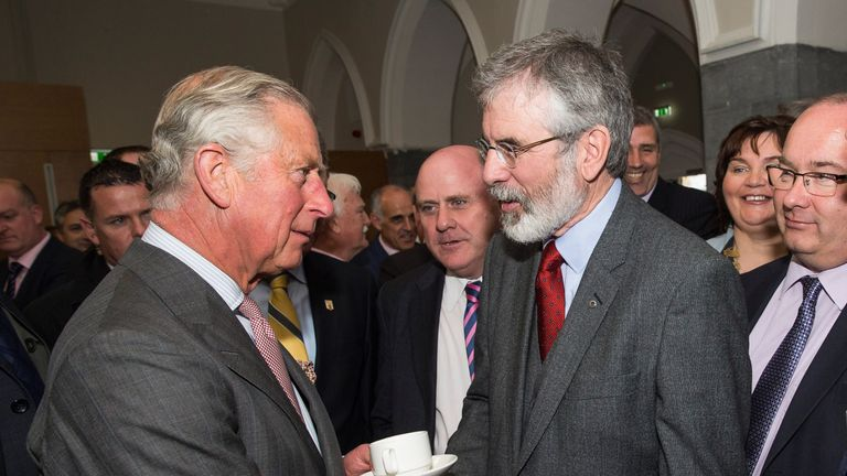 The Sinn Fein leader shakes hands with Prince Charles in Galway in 2015