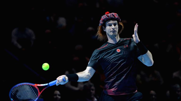 Andy Murray sports a tartan hat during a charity match against Roger Federer in Glasgow