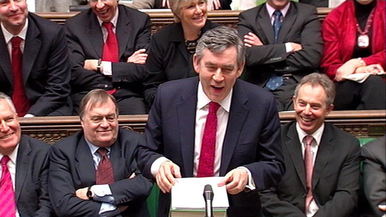 Chancellor of the Exchequer Gordon Brown delivers his Budget speech in the House of Commons