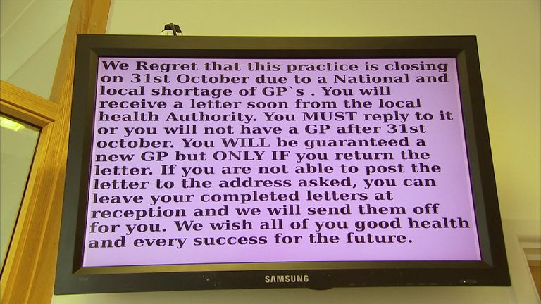 A sign in a GP practice warning about its imminent closure