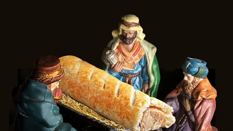 Three wise men worshipping a sausage roll