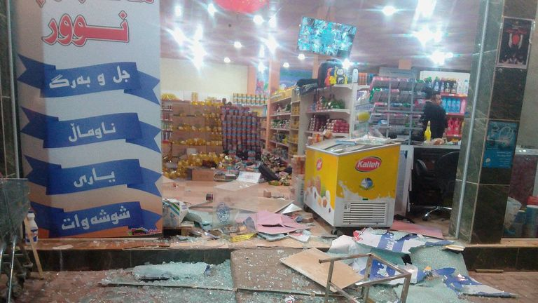 A damaged storefront is seen after an earthquake in Halabja, Iraq, November 12, 2017. Pic: Osama Golpy/Rudaw/Social Media/via REUTERS