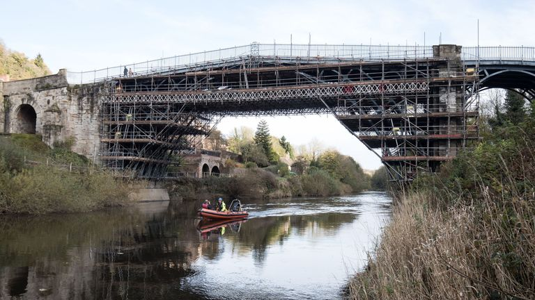 Overview of renovation over River Severn of Ironbridge Gore