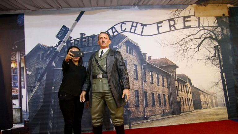 A life-size wax sculpture of Adolf Hitler